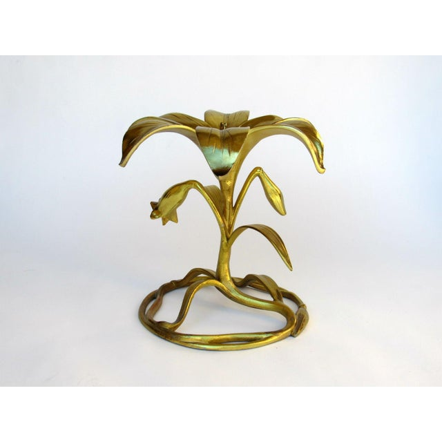 "Often mis-attributed to Arthur Court the ""Lily"" gilded cast aluminum table was offered by Drexel in 1969. Cast aluminum,..."