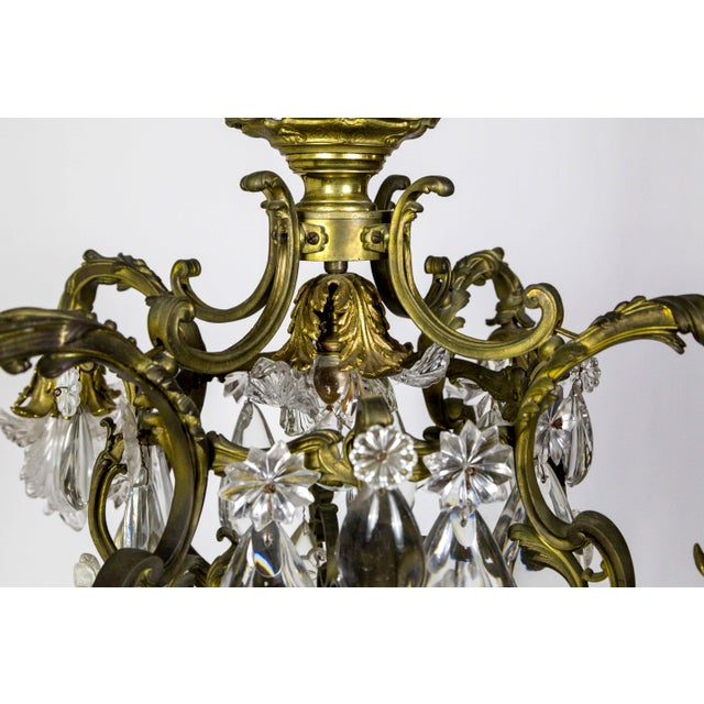 Bronze Bronze Belle Epoch Glass Flower and Smooth Almond Crystal Chandelier For Sale - Image 7 of 11