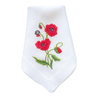 Hand Embroidered Poppies Dinner Napkins, Set of 4 in Gift Box