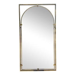 Milo Baughman Attribute Brass Wall Mirror .