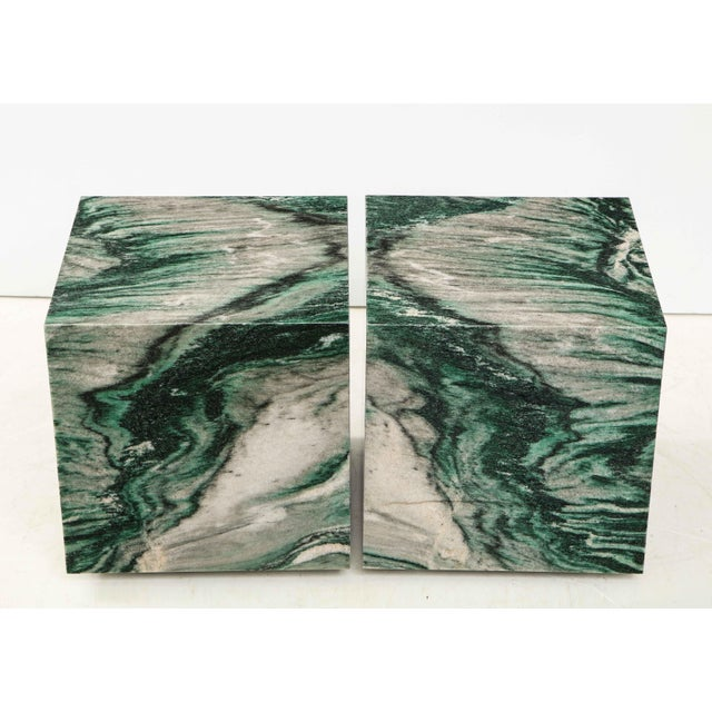 Italian Polar Verde Marble Cubes or Side Tables - a Pair For Sale - Image 3 of 11