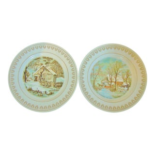 Currier & Ives Winter Season Decorative Plates - A Pair For Sale