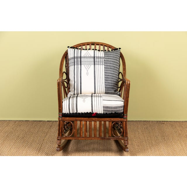 1920s 1920s Bent Wood Rocking Chair With Injiri Upholstery For Sale - Image 5 of 8