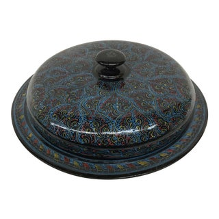 Vintage Kashmir Lacquer Divided Candy Dish For Sale
