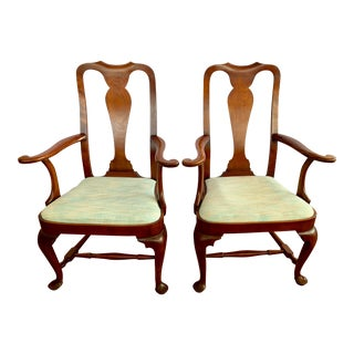 Eldred Wheeler Queen Anne Style Cherry Arm Chairs- a Pair For Sale