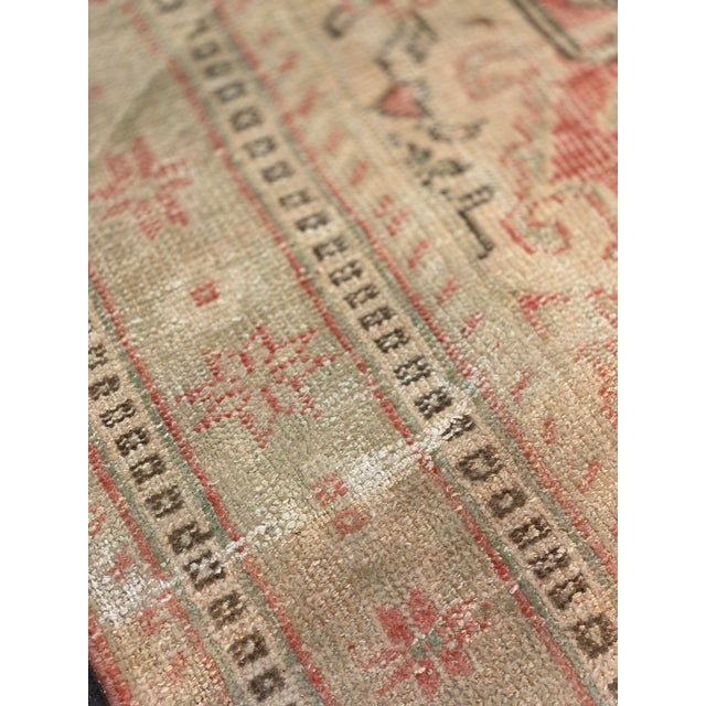Textile 1920s Antique Distressed Turkish Oushak Area Rug - 6′6″ × 9′4″ For Sale - Image 7 of 13