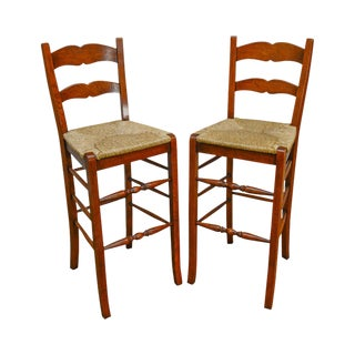 French Country Style Pair of Rush Seat Ladder Back Bar Stools