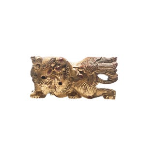 Antique Chinese High Relief Gold Gilded Foo Dog Temple Fragment For Sale
