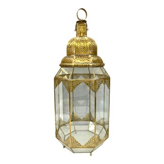 Large Moroccan Moorish Handcrafted Brass and Glass Candle Lantern Hurricanes For Sale