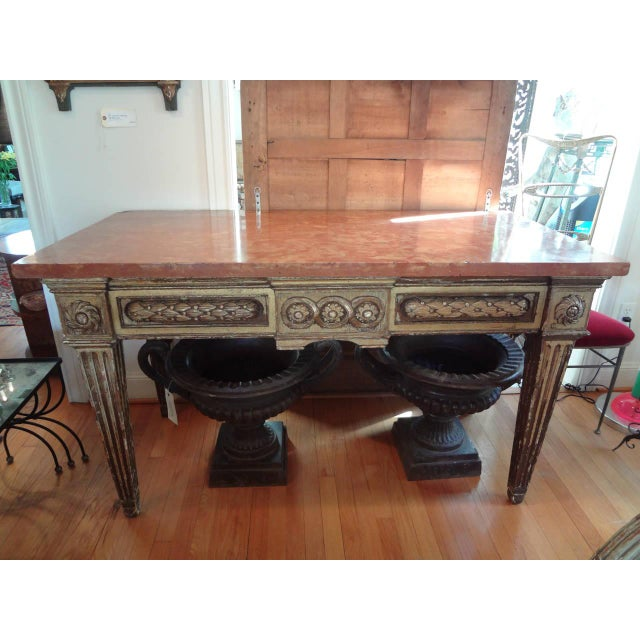 17th Century Italian Gilt Wood With Marble Top Console Table For Sale - Image 10 of 10