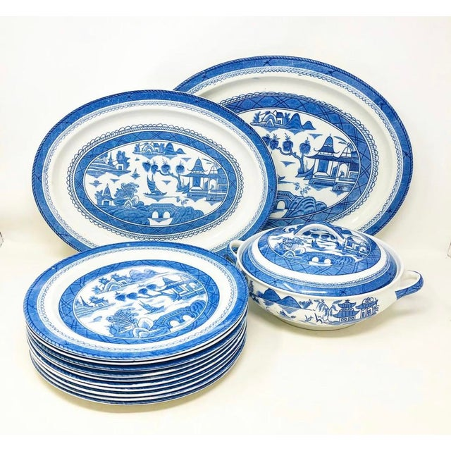 Antique Blue & White Canton Pattern China Collection - Set of 14 For Sale - Image 13 of 13