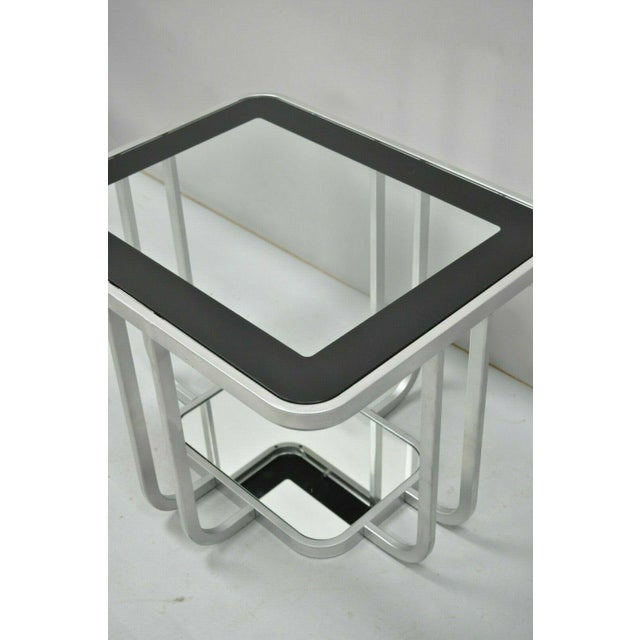 20th Century Art Deco Style 2 Tiered Metal & Glass Side End Table For Sale - Image 10 of 12