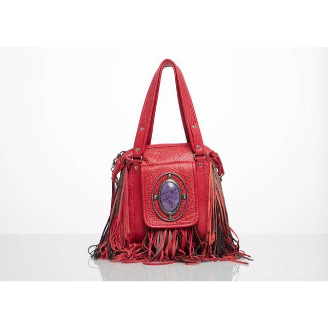 2008 Etro Runway Campaign Red Leather Fringe Shoulder Bag For Sale In Miami - Image 6 of 8