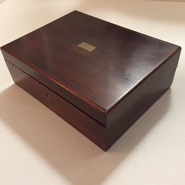 Beautiful Antique Tabletop Writing Lap Box Desk With Compartments And Ink Well Spot Brass Key Hole
