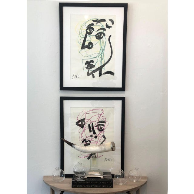 Late 20th Century Original Peter Keil Framed Figural Abstract Painting For Sale - Image 5 of 6