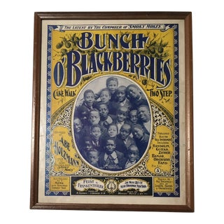 Late 19th Century Antique Bunch O' Blackberries Framed Sheet Music Cover For Sale