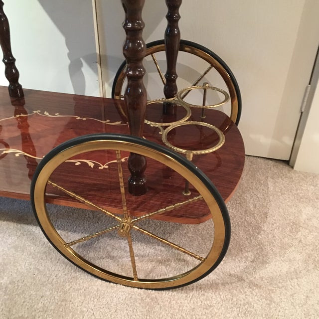 Genuine Italian Marquetry Drop Leaf Beverage Cart - Image 5 of 11
