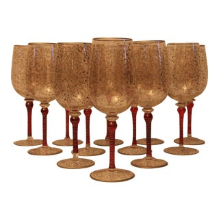 Hand Painted Glass Wine Glasses - Set of 12 For Sale