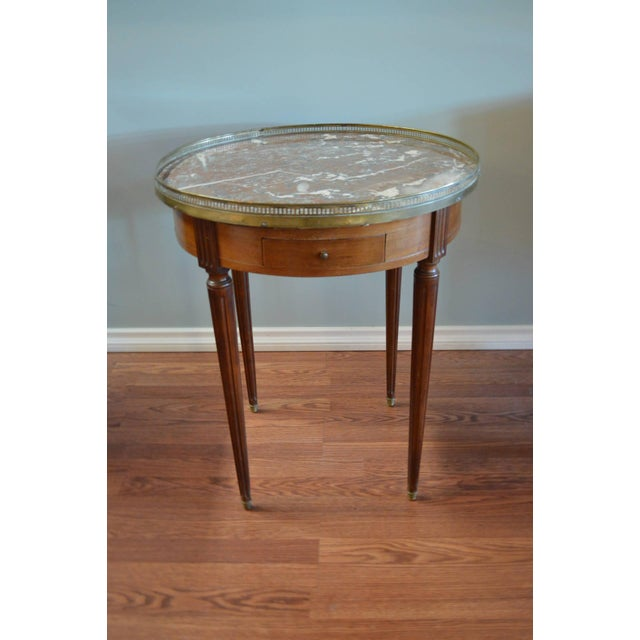 Louis XVI Style Mahogany Bouillotte Table With Original Marble Top For Sale - Image 9 of 9