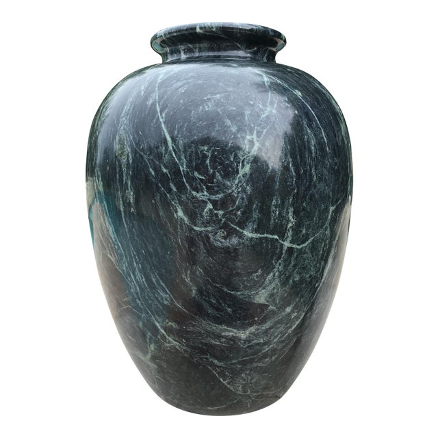 Large Tall Green Black Marble Vase Chairish