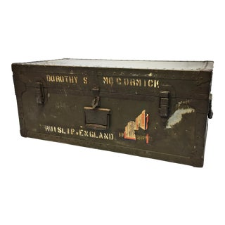 Vintage Industrial US Military Green Foot Locker Trunk