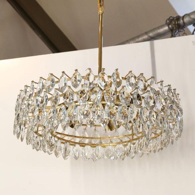 Modern Vintage Austrian Palwa Crystal Chandelier For Sale - Image 3 of 9
