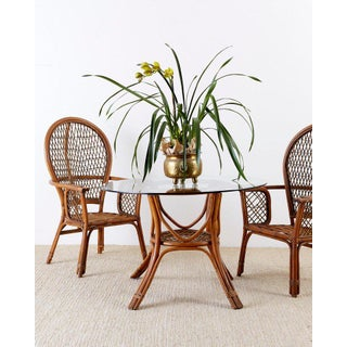 Set of Four Ficks Reed Rattan Peacock Lounge Chairs Preview