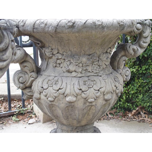 Pair of Cast Renaissance Style Lidded Outdoor Vases From France For Sale - Image 10 of 12