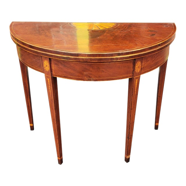American Federal Inlaid & Figured Mahogany Demilune Games Table Rhode Island or Connecticut C1795 For Sale