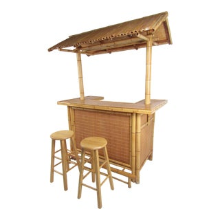 Vintage Tiki Bar With Two Stools For Sale