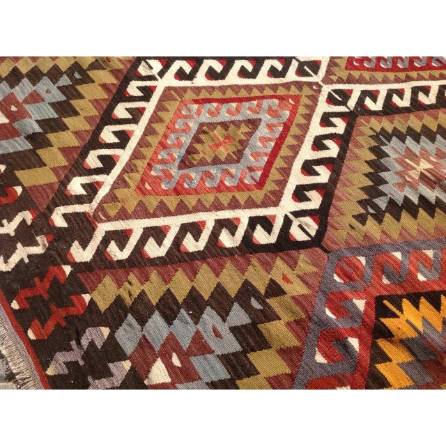 Vintage Turkish Kilim Rug - 5′5″ × 8′5″ For Sale In Raleigh - Image 6 of 7