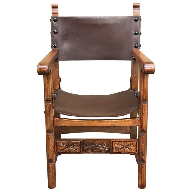 Catalan, Colonial Spanish Carved Armchair With Leather, 19th Century For Sale - Image 9 of 9