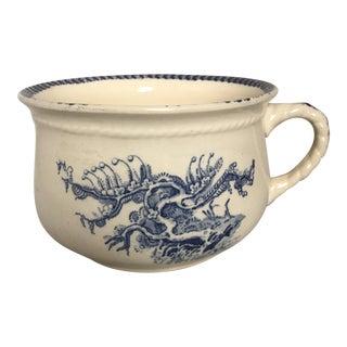 Large Antique Blue & White Ceramic Vase/Cachepot For Sale