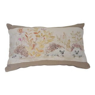 Contemporary Hedgehog Accent Linen Decorative Pillow For Sale
