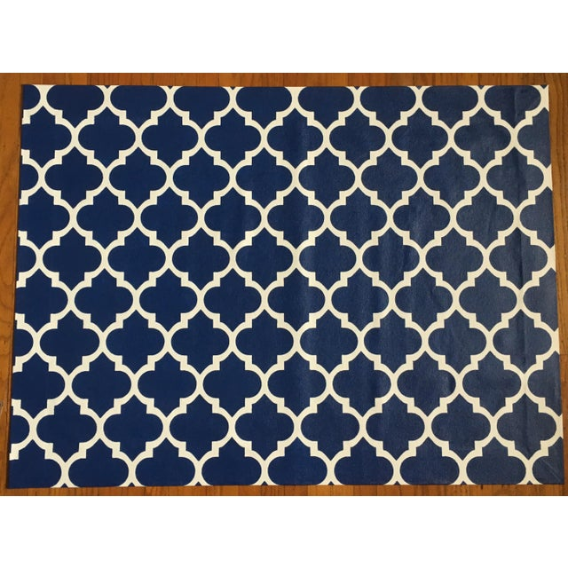 Blue & White Trellis Canvas Rug - 3' X 4' - Image 2 of 3