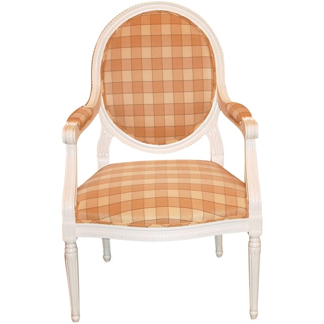 Oval-Back Plaid Upholstered Armchair - Image 1 of 6