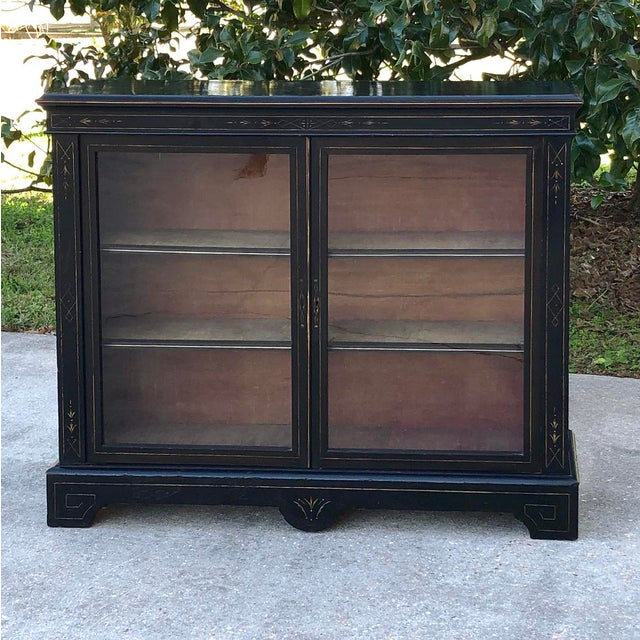 19th Century French Napoleon III Period Ebonized Barrister's Bookcase ~ Vitrines are becoming more rare every visit, not...