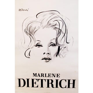 1960s Original Marlene Dietrich Portrait Poster For Sale