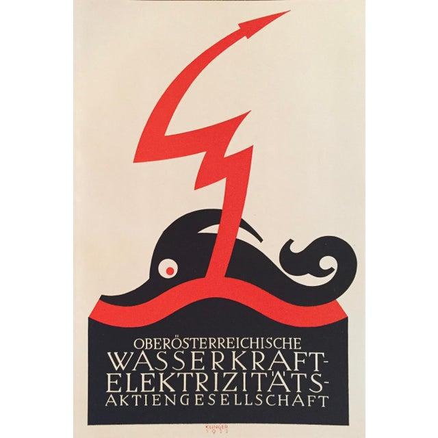 1927 Julius Klinger Original Poster, Wasserkraft Elektrizitats (Poseidon) For Sale - Image 4 of 5