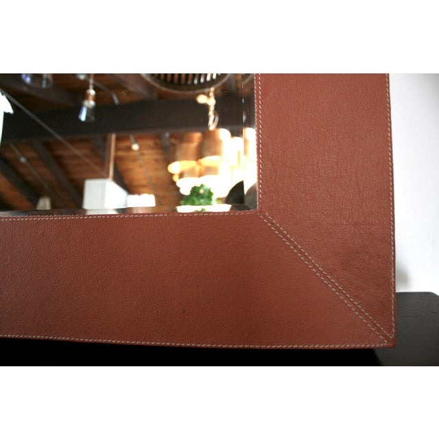 2010s Brooke Leather Mirror For Sale - Image 5 of 5
