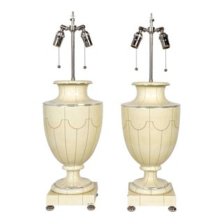 Vintage Silver Trimmed Ivory Ceramic Urn Lamps by Jean Roger - a Pair For Sale