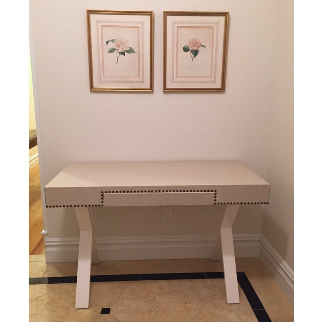 Custom Ivory Leather Desk with Nailhead Trim - Image 2 of 9