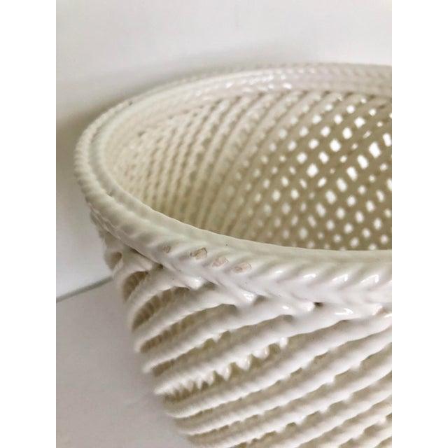 Vintage White Ceramic Lattice Flower Pot For Sale - Image 9 of 11