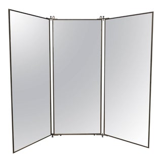 French Brass Brot Dressing Mirror For Sale