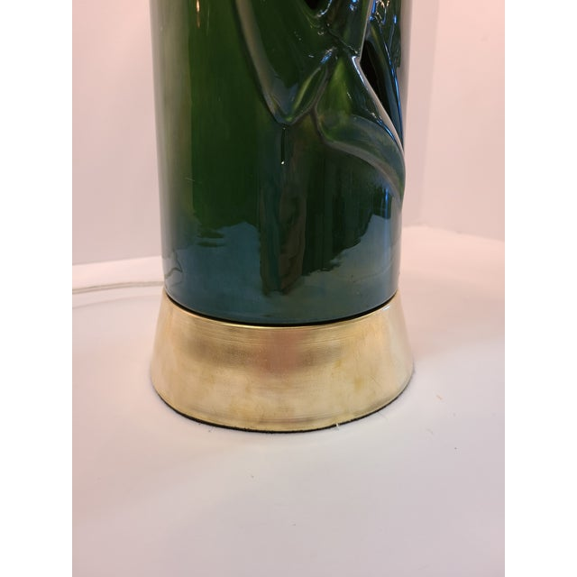 Peace Lily Ceramic Lamp With Shade by Haeger For Sale In Austin - Image 6 of 13
