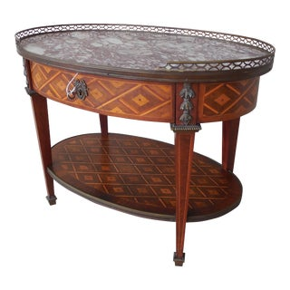 "French Louis XVI Style Parquetry Inlaid Marble Top Accent Table 28.5""W"