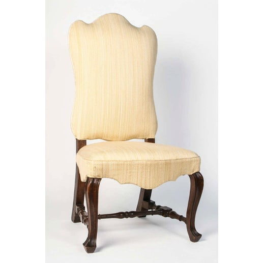 Italian 19th Century Vintage Walnut Italian Side Chairs- A Pair For Sale - Image 3 of 9
