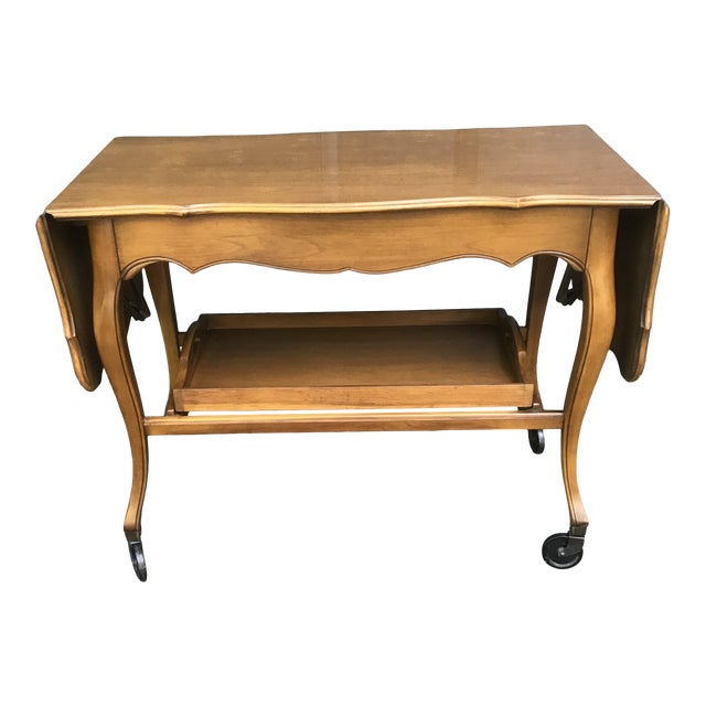 French Provincial Maple Rolling Beverage Cart With Removable Tray by John Widdicomb For Sale