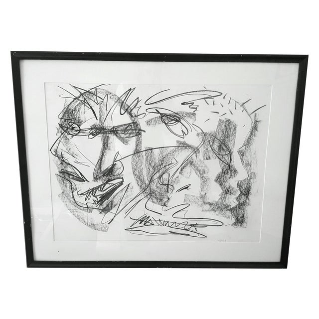 Original Abstract Charcoal Faces Drawing For Sale