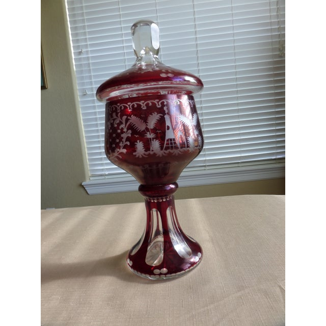 Bohemian Ruby Cut to Clear Covered Compote For Sale - Image 5 of 11
